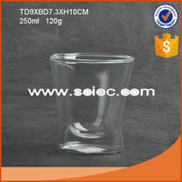 fancy double layer drinking glass for hot and cold drink