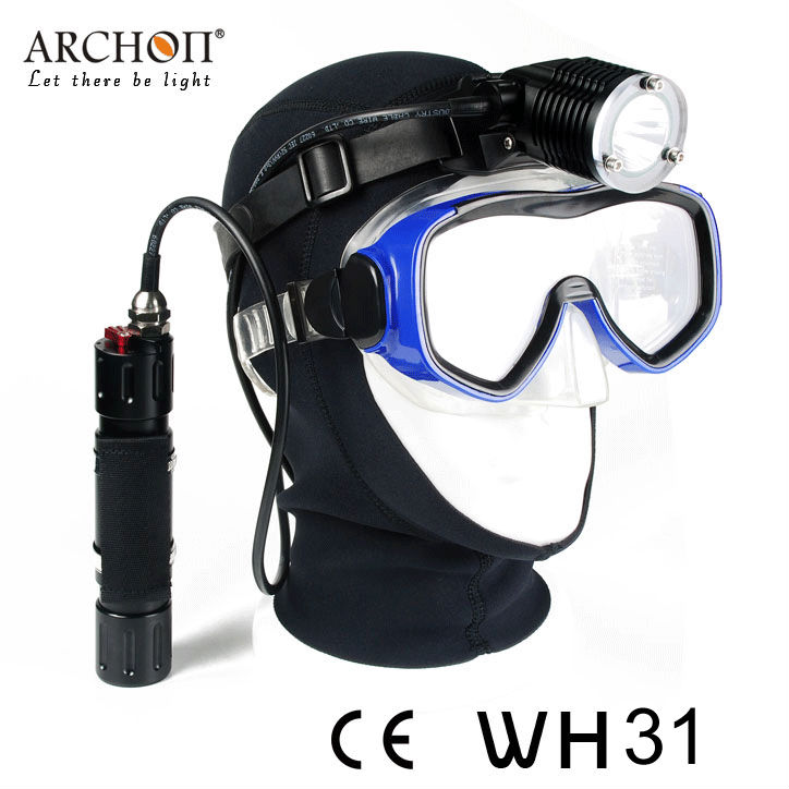 Scuba diving headlight wh36 powerful 3000 lumen with goodman handle