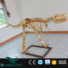OAV18230 Jurassic life size golden dinosaur replicas skeleton for sale