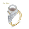Luxury 14K solid gold pearl ring mounting Cubic Zircon jewelry