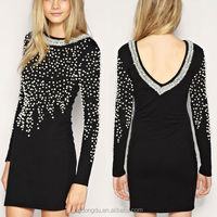 New Style Pearl Embellished Bodycon Dress The Black Pearl Dresses