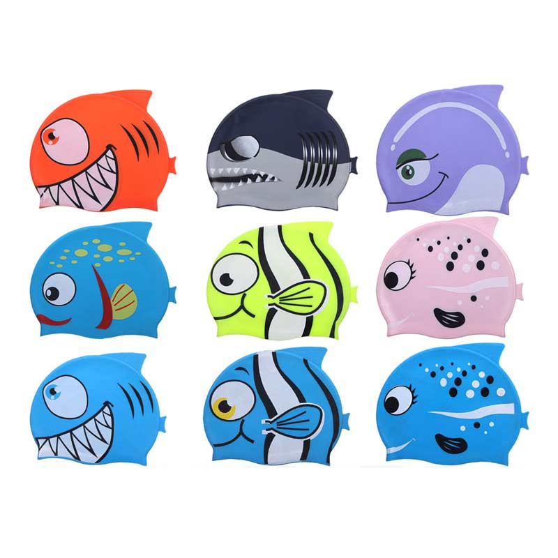 2018 newest design cool cartoon swim cap for kids,child unique shark/fish-shaped waterproof silicone swimming caps