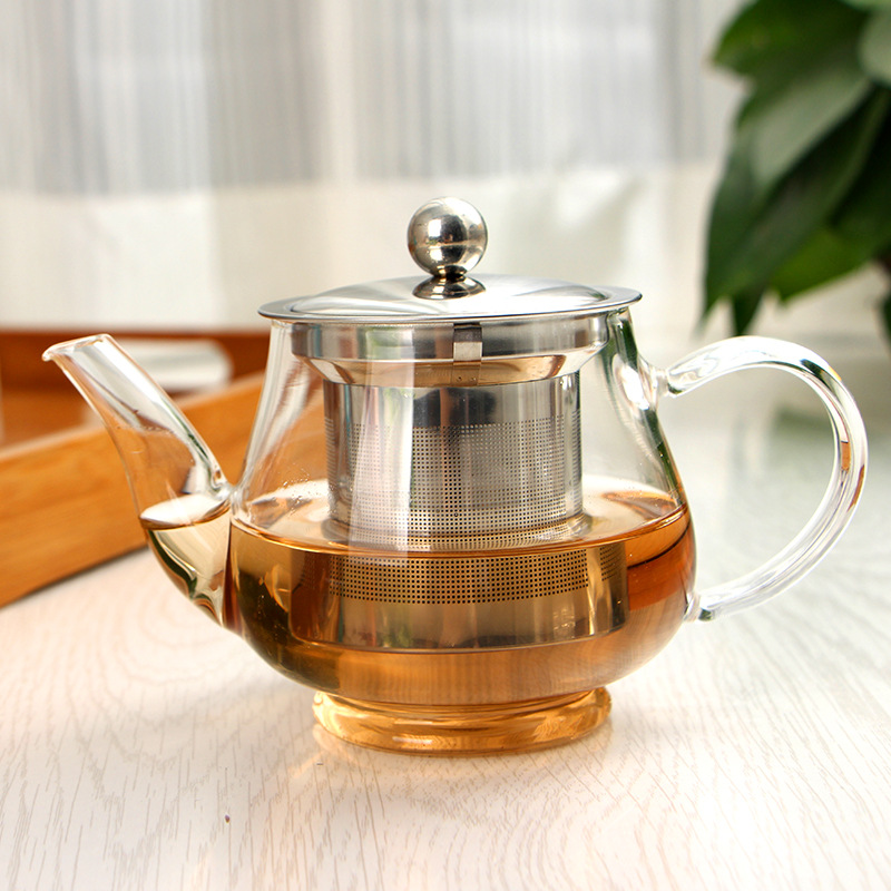 Factory direct stainless steel filter teapot glass tea set