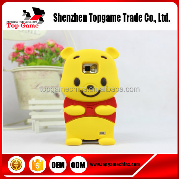 3D Cute Cartoon Winnie Bear Soft Rubber Silicone Back Cover Case For Samsung Galaxy S2 SII i9100 Case