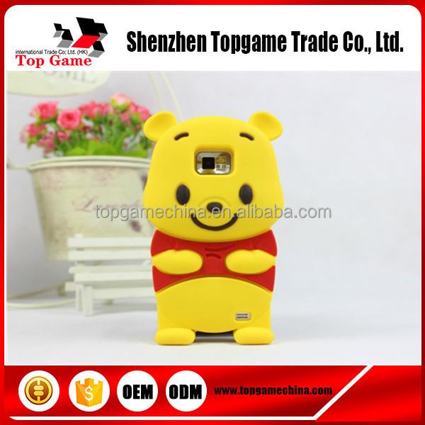 3D Cute Cartoon Winnie Bear Soft Rubber Silicone Back Cover Case For Samsung Galaxy S2 SII i9100 Case