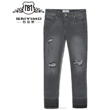 2016 Baiyimo five pockets decorative rips women custom ripped jeans