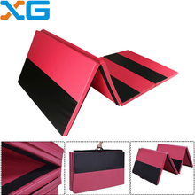 "4'x10'x2"" PU leather EPE foam cheap thick athletic padding panel gym folding exercise tumbling crash acro gymnastics landing mat"