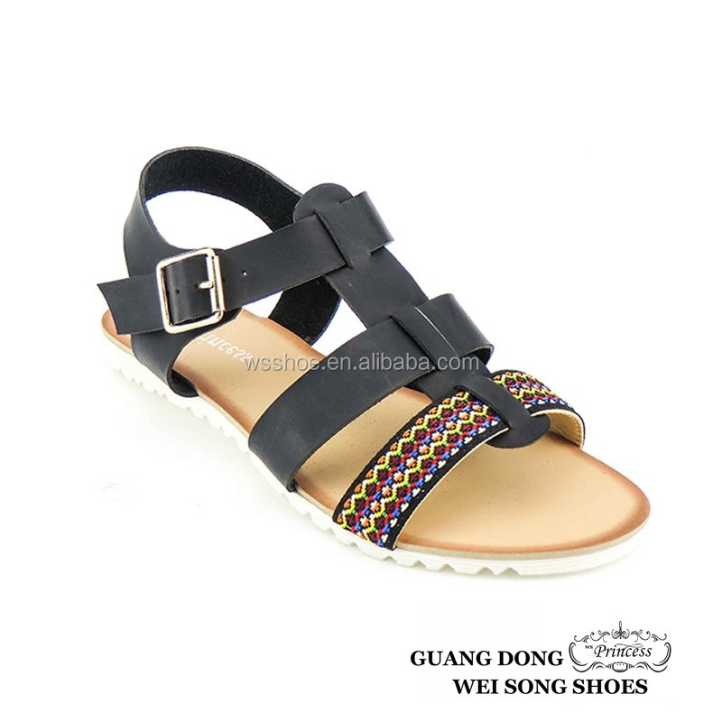 PVC sole black sample available customizable latest flat sandals for girls