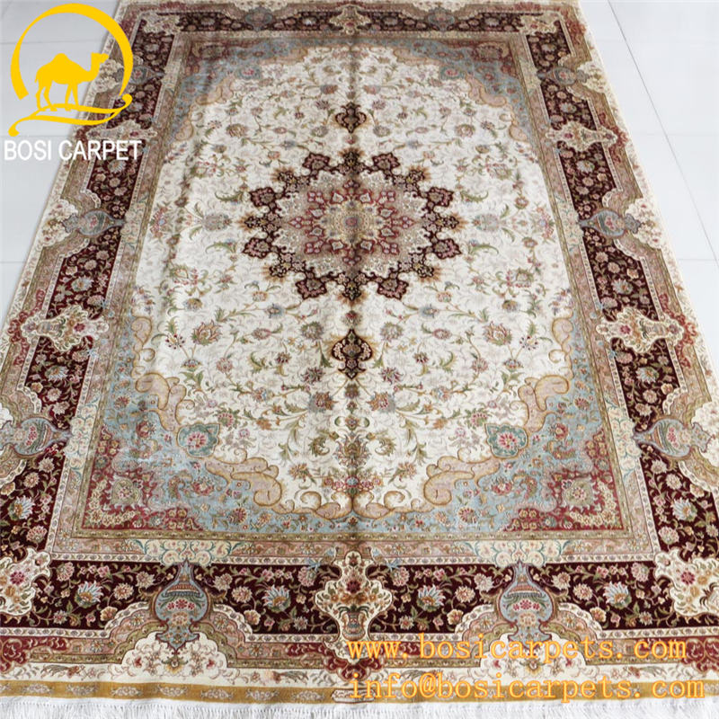6x9ft red and white color handmade modern design indian silk home textile lowes carpet prices hand knotted silk carpet rug capet
