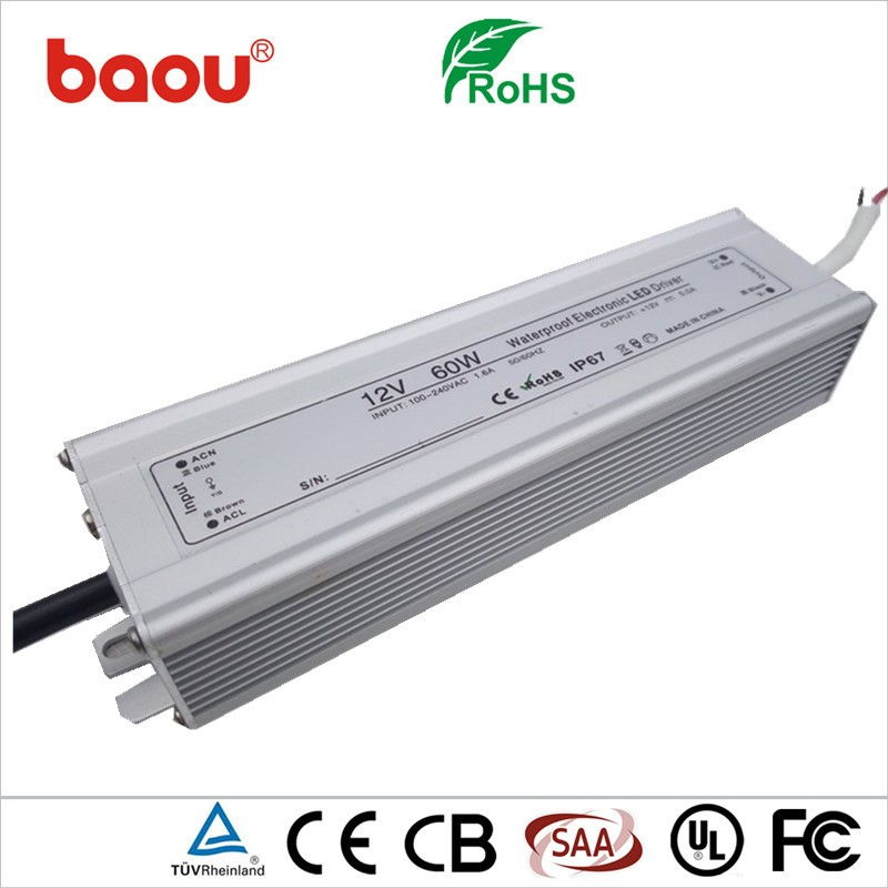Baou 24V 2.5A 60W Waterproof Power Supply LED Driver With CE ROHS