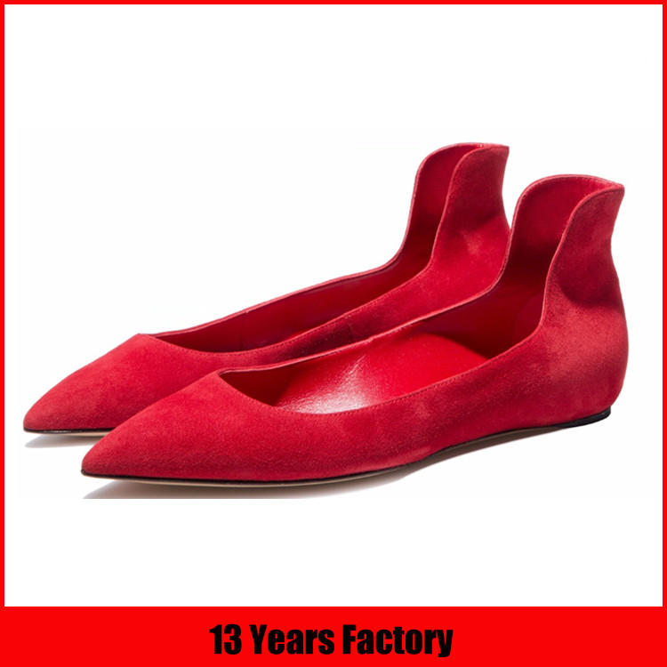 suede leather shoes/handmade brand shoes/women flat shoes