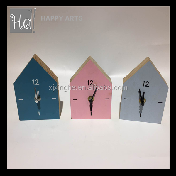 Home and living wood house shape CE desk clock with handmand