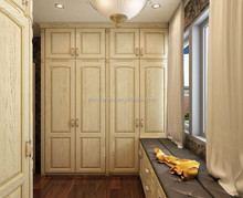 High quality oak solid wood wardrobe with bay cabinet
