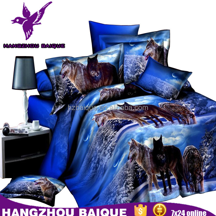 Home Textile 3D Housse De Couette Ensemble Animal Wolf Print Bedding
