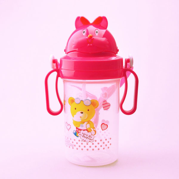 Newest products 500 ml red pp plastic kids water bottle with straw/led cup