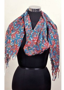 100% pure silk wool paisley scarf