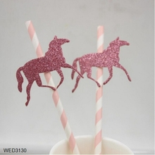 FengRise Pink Striped Horse Baby Shower Vivid Horse Paper Straws Birthday Gift