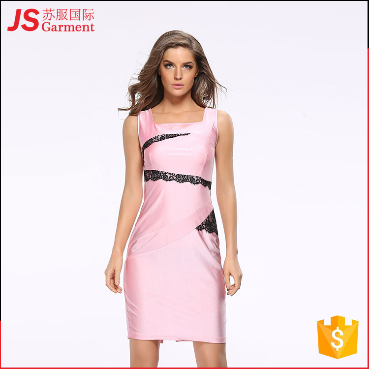 JS 20 Spring and summer new package hip sleeveless dress with lace decals silk fabric pencil skirt 700