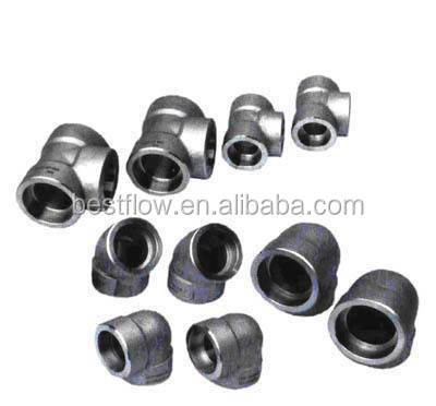 High Quality and Good price galvanized carbon steel forged pipe fitting /Socket Welding Forged Threaded Elbow 90deg