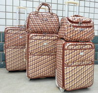 pu 5 pcs four wheels travel patent leather luggage