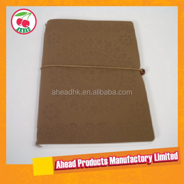 Embossed PU leather cover organizer kraft notebook