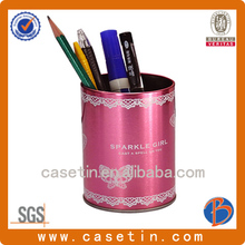 cylindrical metal tin pen holder