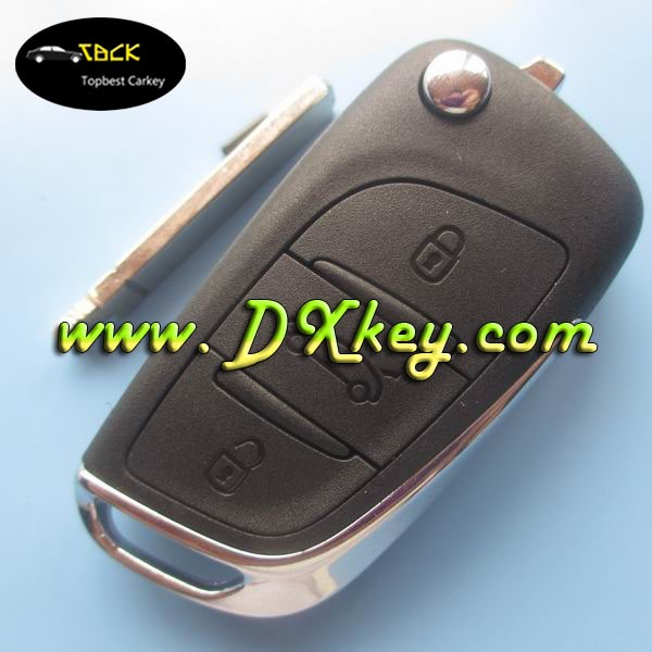 ORIGINAL custom 3 buttons car remote key fob for Citroen c5 remote key 433mhz id46 chip ASK with logo