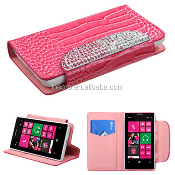 Wholesale Pink Flip Leather Wallet Stand Case for Nokia Lumia 521