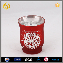 Wholesale crackle red long stem glass candle holder