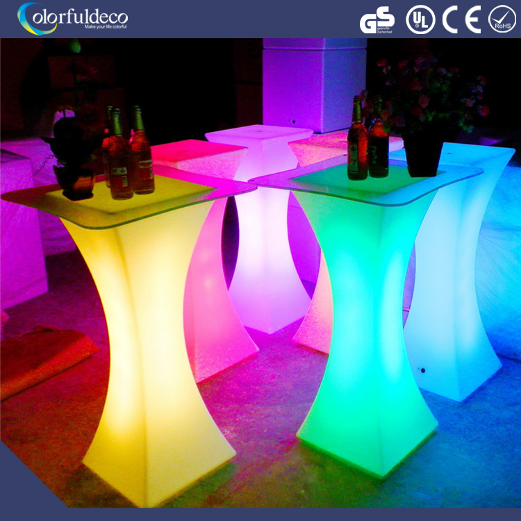 Protable outdoor used waterproof modern LED high top cocktail table for event