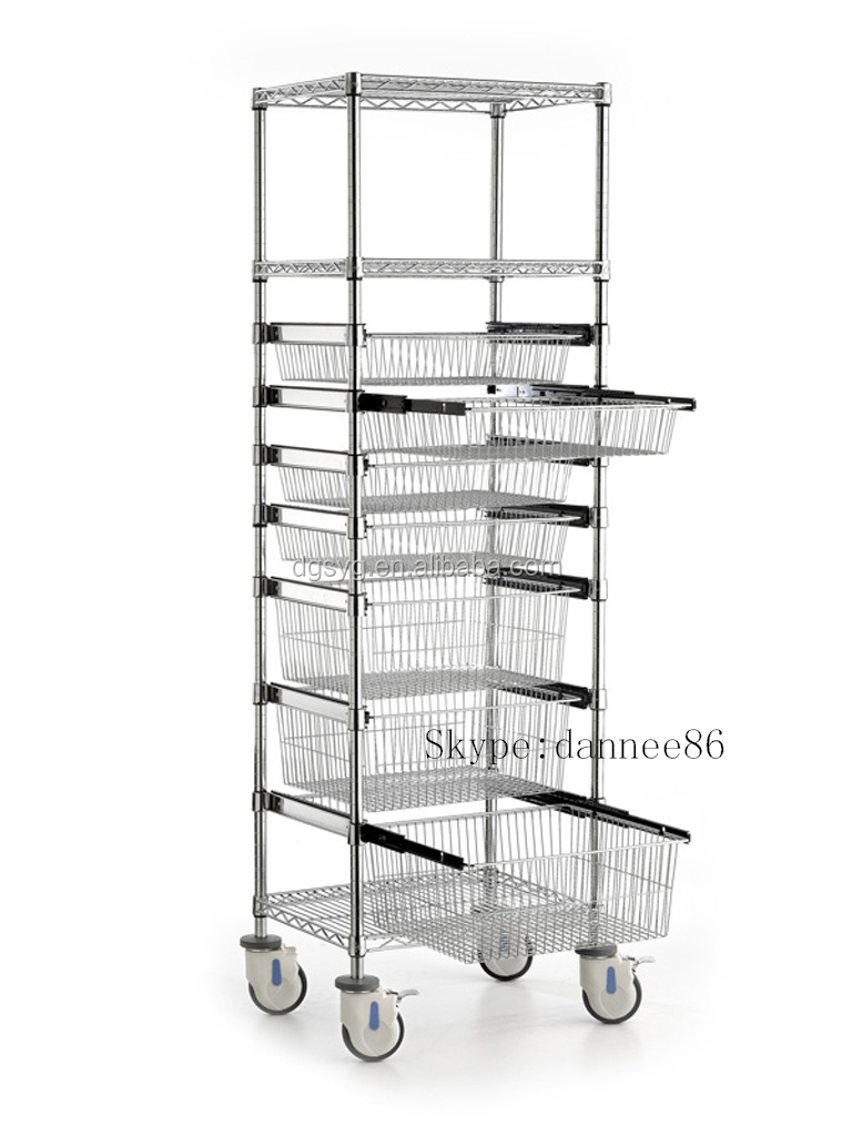 wire shelving trolley with sliding wire basket buy. Black Bedroom Furniture Sets. Home Design Ideas