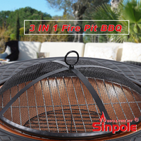 Steel fire pit with tile table top, 3 in 1 garden fire pit