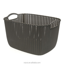 Hot sale in supermarket plastic baskets plastic rattan wicker basket with hole