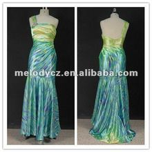 Aqua green printed joint fabric one shoulder beautiful lady one-piece dress