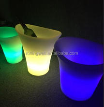 plastic color change led ice bucket for beer / led ice cooler bucket for drinks and beer