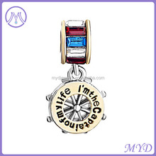Multicolor Crystal Rhinestone Gold Plated I am the Captain of My Life Dangle Charm Bead For Bracelet
