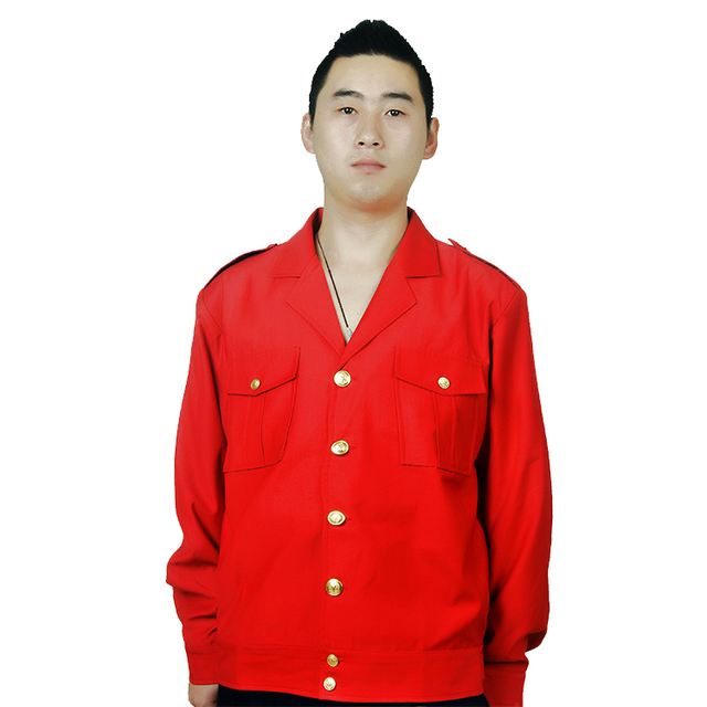 Custom-nade Red Long Sleeve Work Wear Shirts and Trousers Sets Uniform