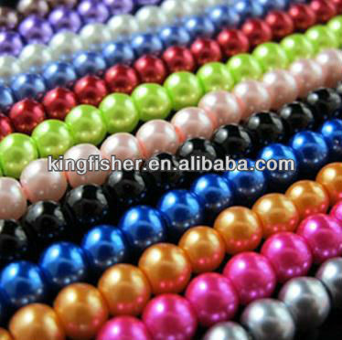 Wholesales 4mm-18mm mix colors round glass pearls strand beads for DIY jewelrys.
