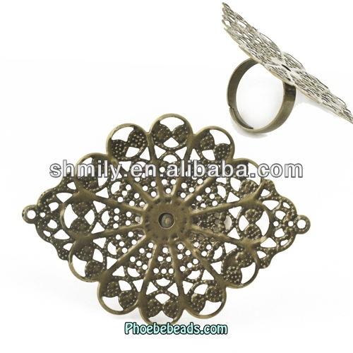 Wholesale Retro Iron Eye Shape Ring Blanks Jewelry Material For Women PB-J120266