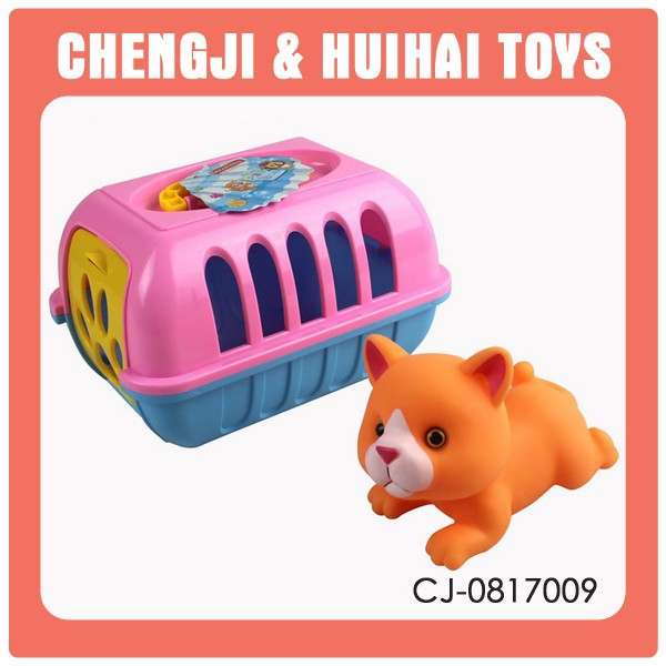 Mini cartoon pet house plastic animal cage toy