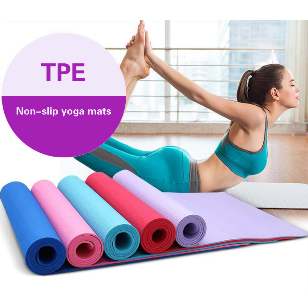 Exercise fitness pilates wholesale custom anti slip eco friendly TPE yoga mat with carrier bag