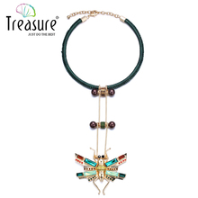 Insect pendant necklaces women torques necklace handmade collar 2015 autumn insect series crystal animal pendant necklace