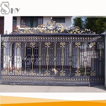 Wrought iron sliding main gate design with electric motor