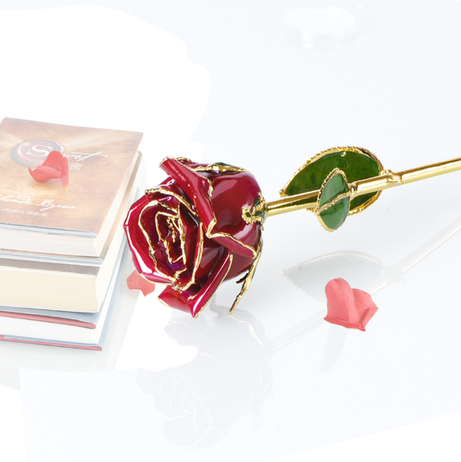 2018 hot sale pure gold rose 24K golden rose for valentine day gifts