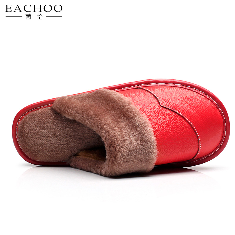 Fashion Handmade Faux Fur Real Cow Leather Soft Slippers For Women