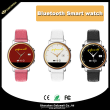 Ultra-Thin Dial Ladies Smart Watches Round Dial Free Design Logo With Real Leather