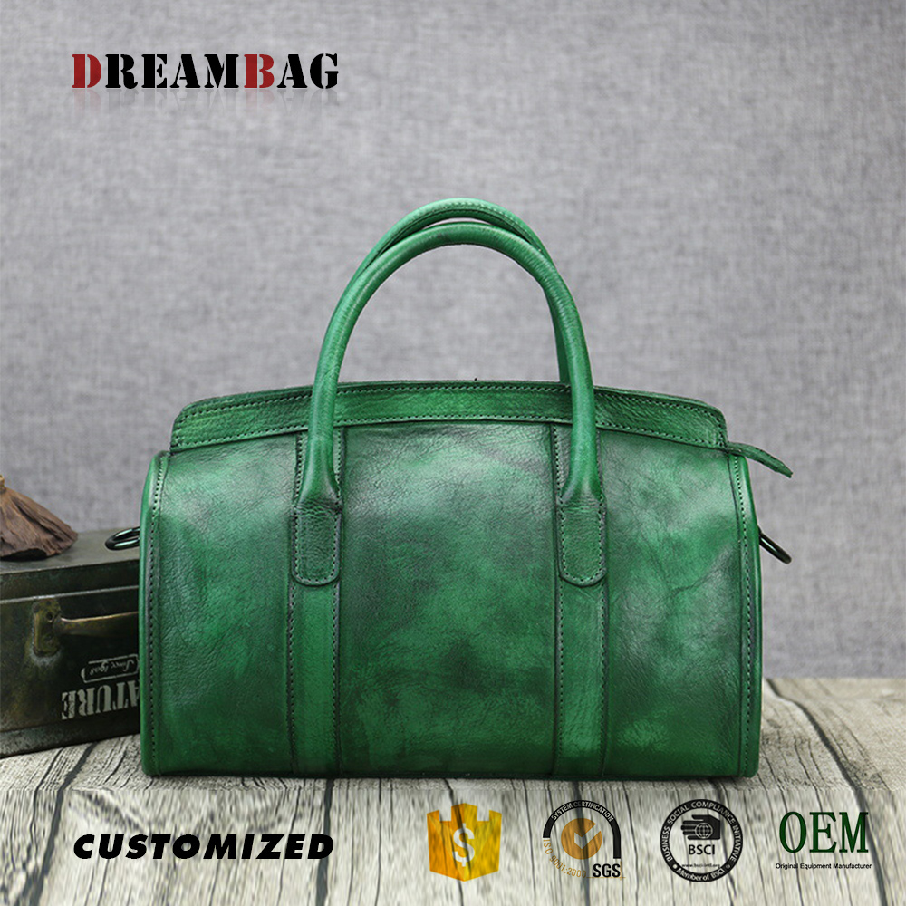 GZ OEM retro vegetable tanned leather blank handbags