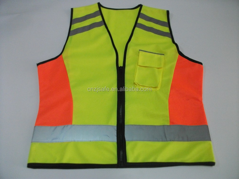 Wholesale High Visibility Fluorescent Reflective Safety Vest with Mixed Color in Yellow and Orange