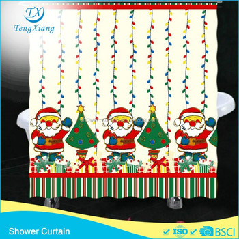 Christmas Best Sale Printed Bath Shower Curtain