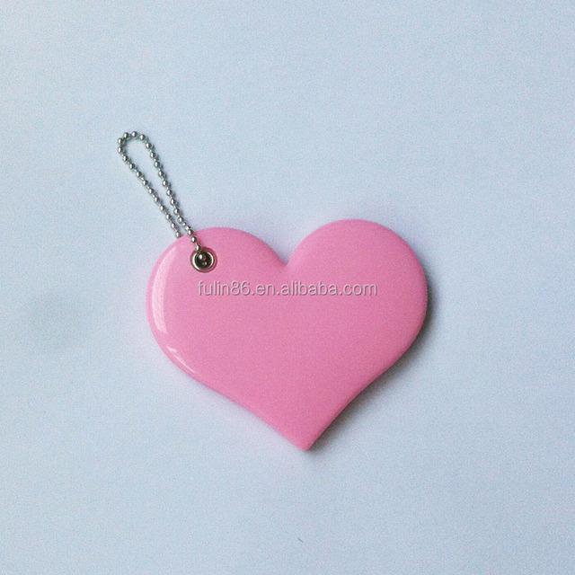 chain link plastic heart shape side slip cosmetic mirror pink